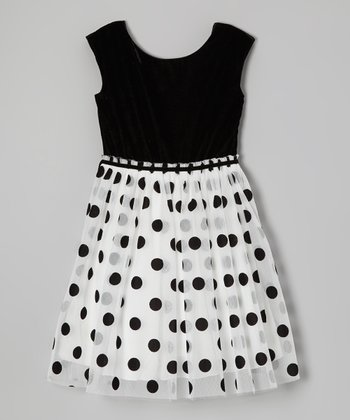 Ivory & Black Velvet Polka Dot Dress - Girls