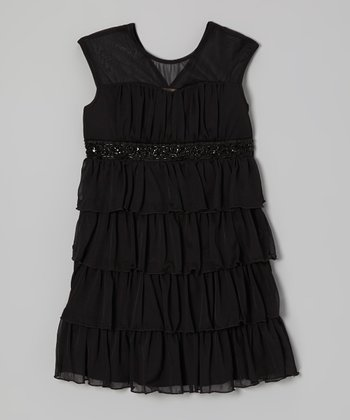 Black Tiered Ruffle Dress - Girls
