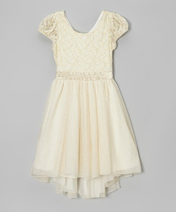 Ivory & Gold Glitter Cap-Sleeve Dress
