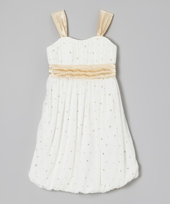 Ivory & Gold Glitter Bubble Dress