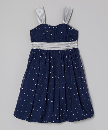 Navy Glitter Bubble Dress