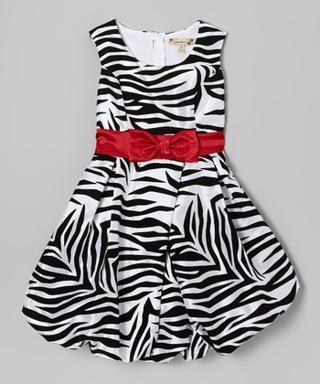 Red & Black Zebra Bubble Dress