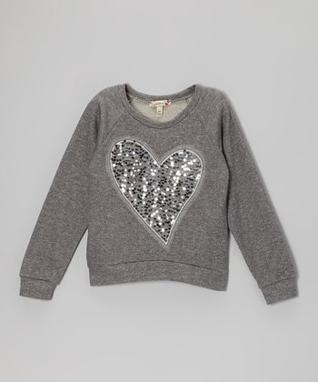 Gunmetal Sequin Heart Sweatshirt - Girls