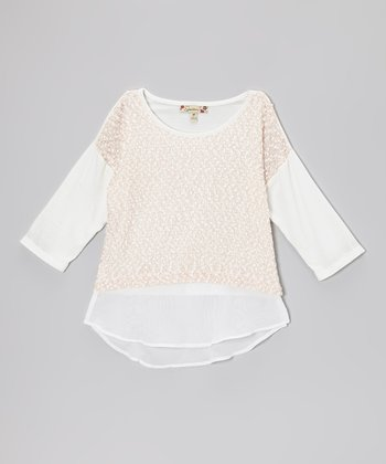 Ivory & Pink Chiffon Layered Top - Girls