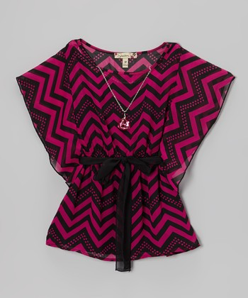 Fuchsia & Black Zigzag Cape-Sleeve Top