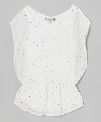 White Sequin Polka Dot Layered Top