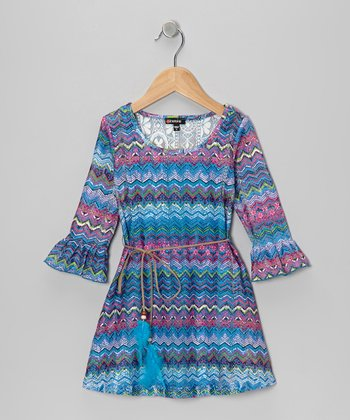 Blue Zigzag Crocheted Dress - Girls