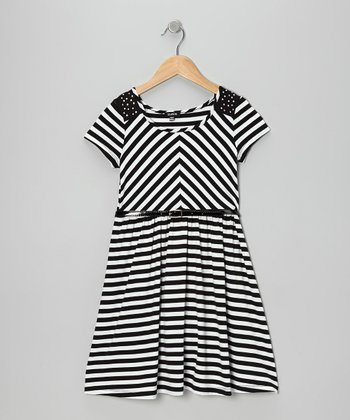 Black & White Stripe Skater Dress - Girls