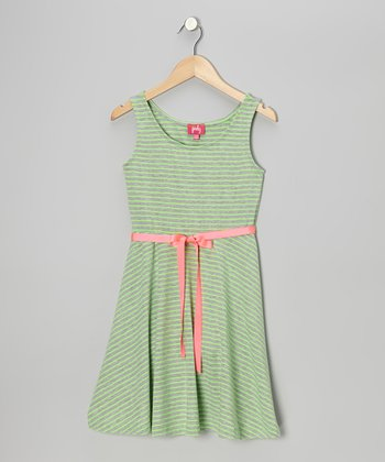 Neon Lime & Gray Stripe Skater Dress - Girls