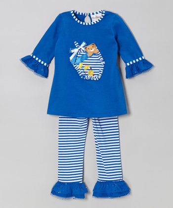 Blue & White Hanukkah Tunic & Leggings - Infant, Toddler & Girls