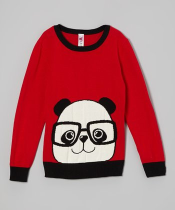 Red & Black Panda Sweater