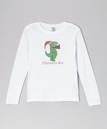 White Dino 'Elfasaurus Rex' Tee - Toddler & Girls