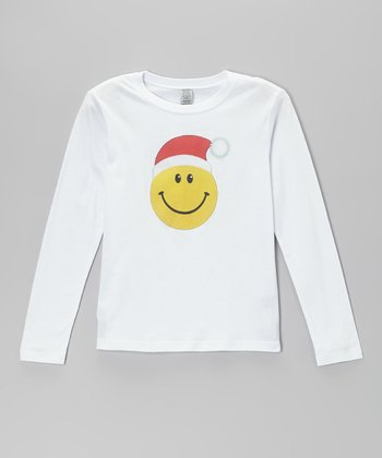 White Smiley Face Santa Tee - Toddler & Girls
