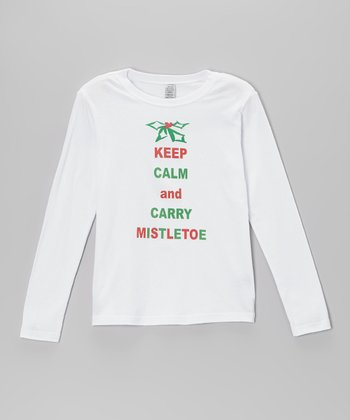 White 'Keep Calm and Carry Mistletoe' Tee - Toddler & Girls