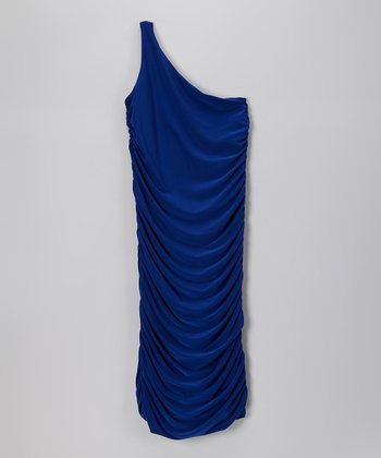 Dark Blue Ruched Jenna Asymmetrical Dress