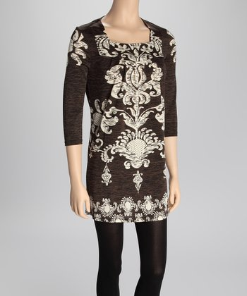Black & Cream Damask Sweater Dress
