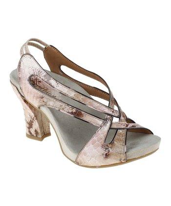 Pink & Brown Tambolini Peep-Toe Sandal