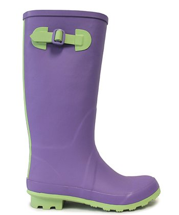 Purple & Green Midas Rain Boot