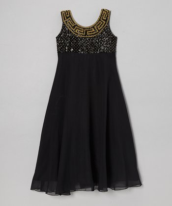 Black Grecian Chiffon A-Line Dress - Toddler & Girls