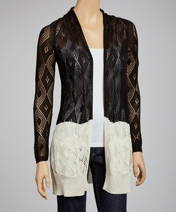Black Crochet Open Cardigan