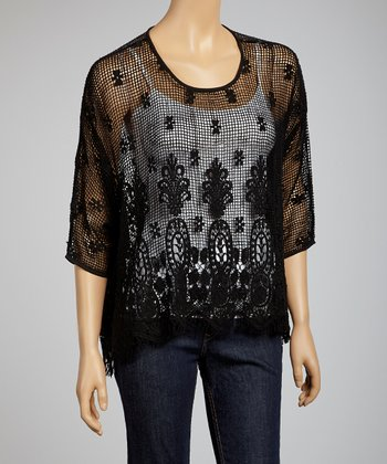 Black Crochet Sheer Top