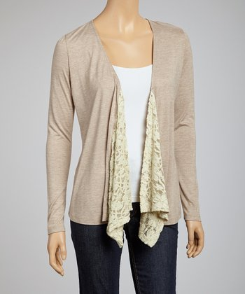 Taupe Lace Open Cardigan