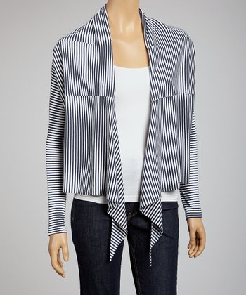 Navy & Off-White Stripe Open Cardigan
