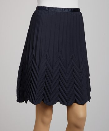 Navy High-Waisted Pleated Skirt