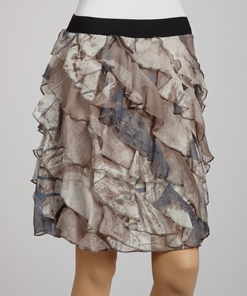 Off-White & Gray Ruffle Skirt
