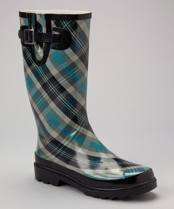 Black & Teal Plaid Rain Boot