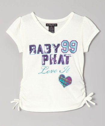 Cream 'Love It' V-Neck Tee - Girls