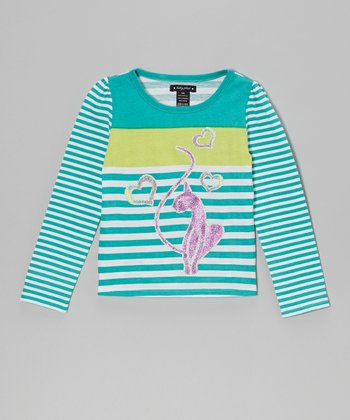 Dark Turquoise Stripe Top - Toddler & Girls