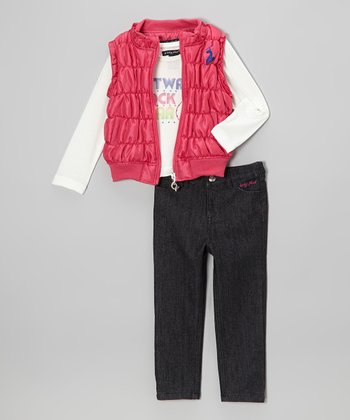 Pink Puffer Vest Set - Toddler