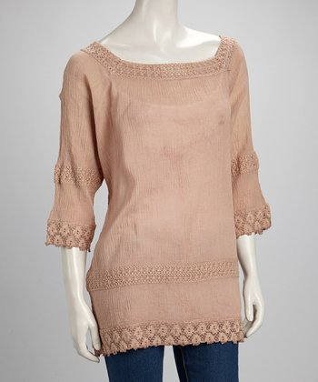 Beige Sheer Crocheted Three-Quarter Sleeve Top