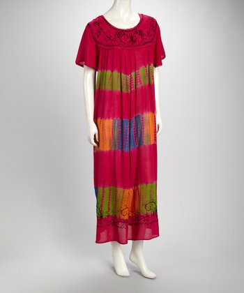 Fuchsia Tie-Dye Embroidered Short-Sleeve Dress