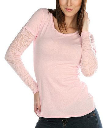 Light Pink Burnout Scoop Neck Top