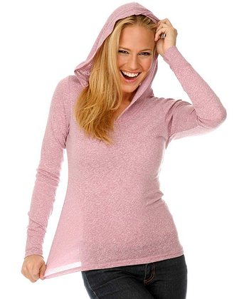 Dusty Rose Snow Jersey Pullover Hoodie