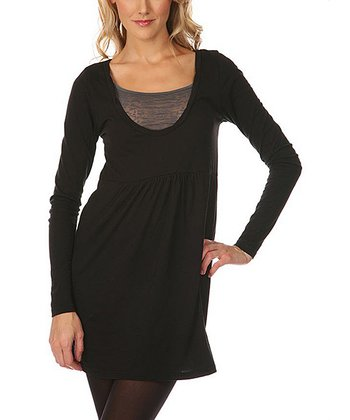 Black Scoop Neck Jersey Tunic