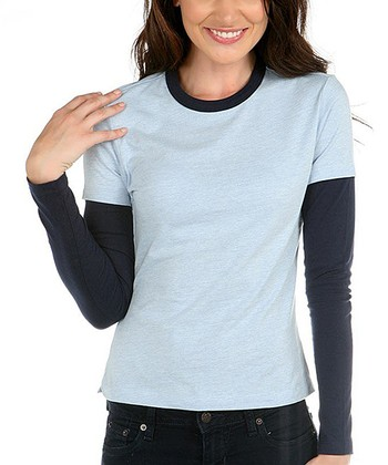 Baby Blue & Navy Layered Crewneck Top - Women