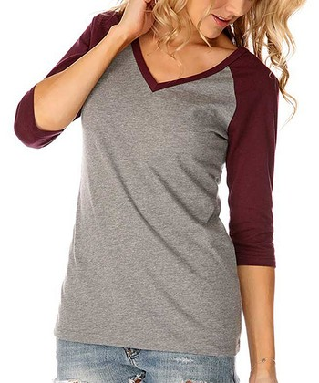 Heather & Pinot Three-Quarter Sleeve Raglan Top - Women & Plus