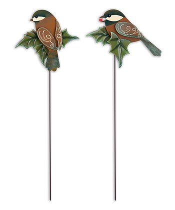 Cheerful Bird Garden Stake - Set of Two