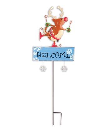 'Welcome' Reindeer Garden Stake