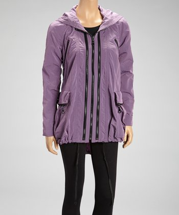 Dusty Lavender Nylon Anorak Raincoat