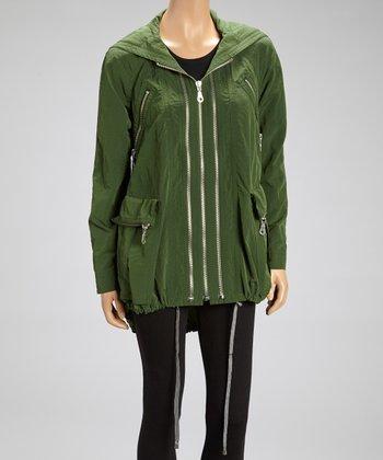 Pine Moss Nylon Anorak Raincoat