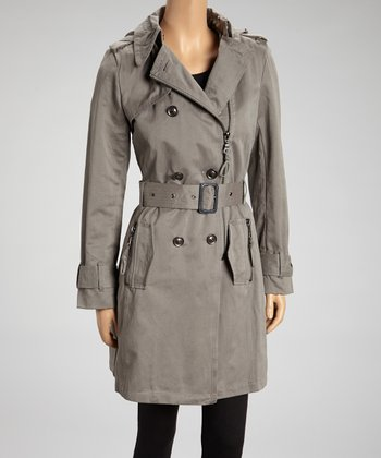 Light Gray Belted Trench Coat