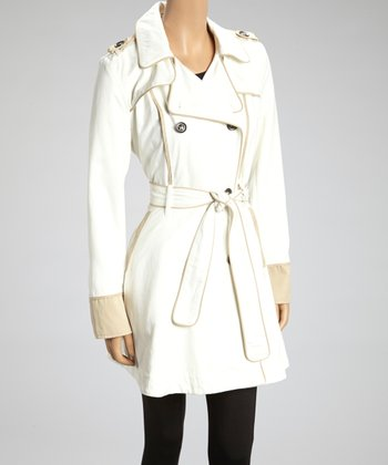 Star White Contrast Belted Trench Coat