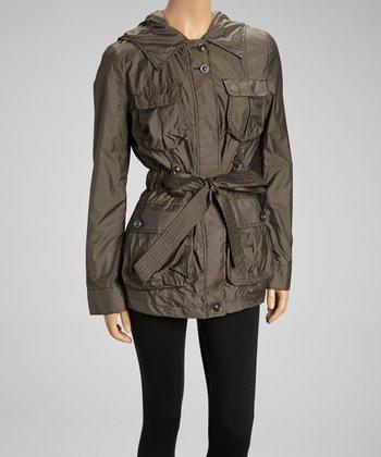Cedar Brown Belted Raincoat