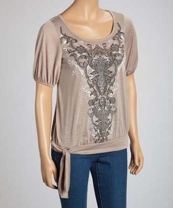 Taupe Abstract Tie-Waist Short-Sleeve Top