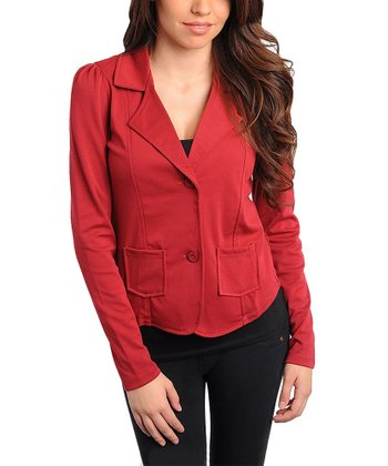 Burgundy Patch Pocket Blazer