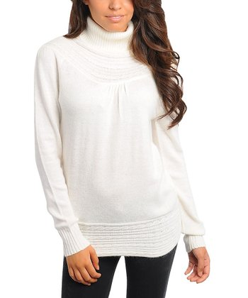 Ivory Knit Turtleneck Sweater